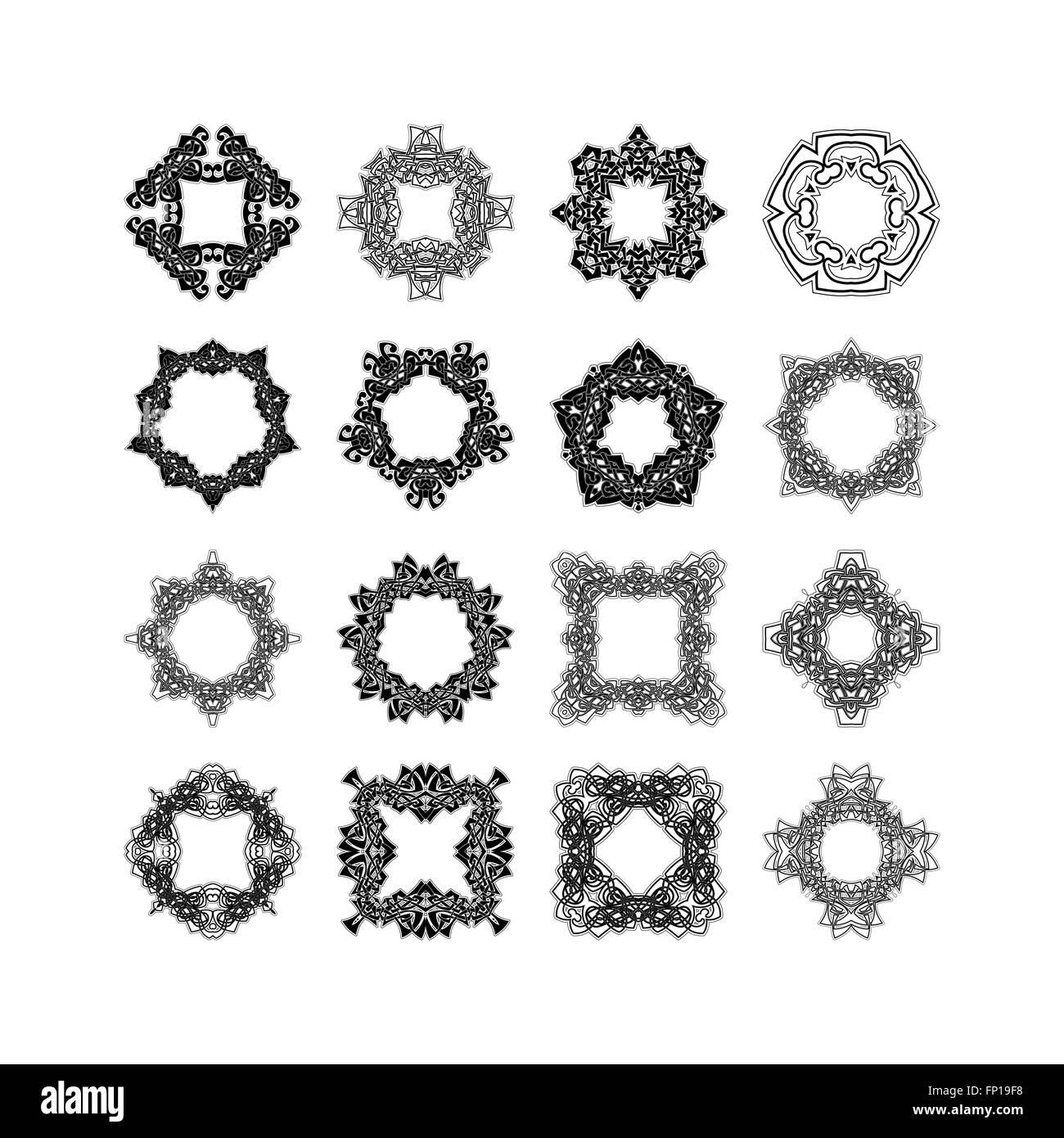 Satz von reich verzierten Mandala Rahmen und Grenzen. Gotische ...