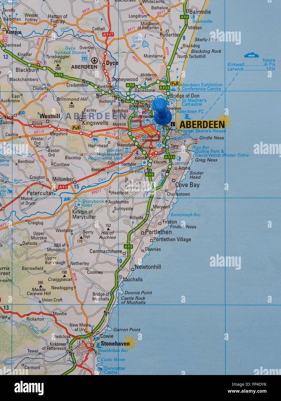 Karte Von Florida Westkuste.Strassenkarte Von Der Ostkuste Schottlands Aberdeen Und Die
