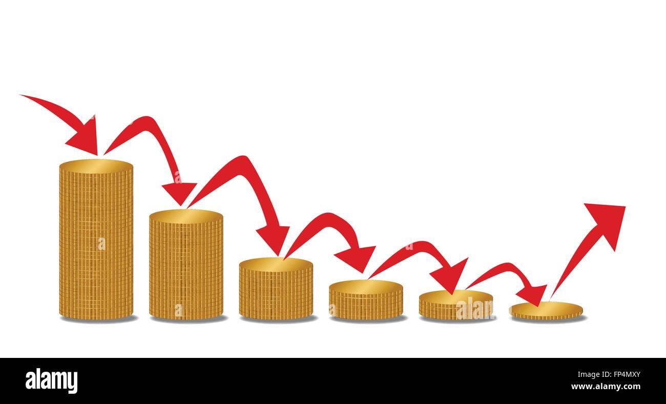 Haufen von Münzen verringert in der Größe mit Pfeilen, die Richtung Stockbild