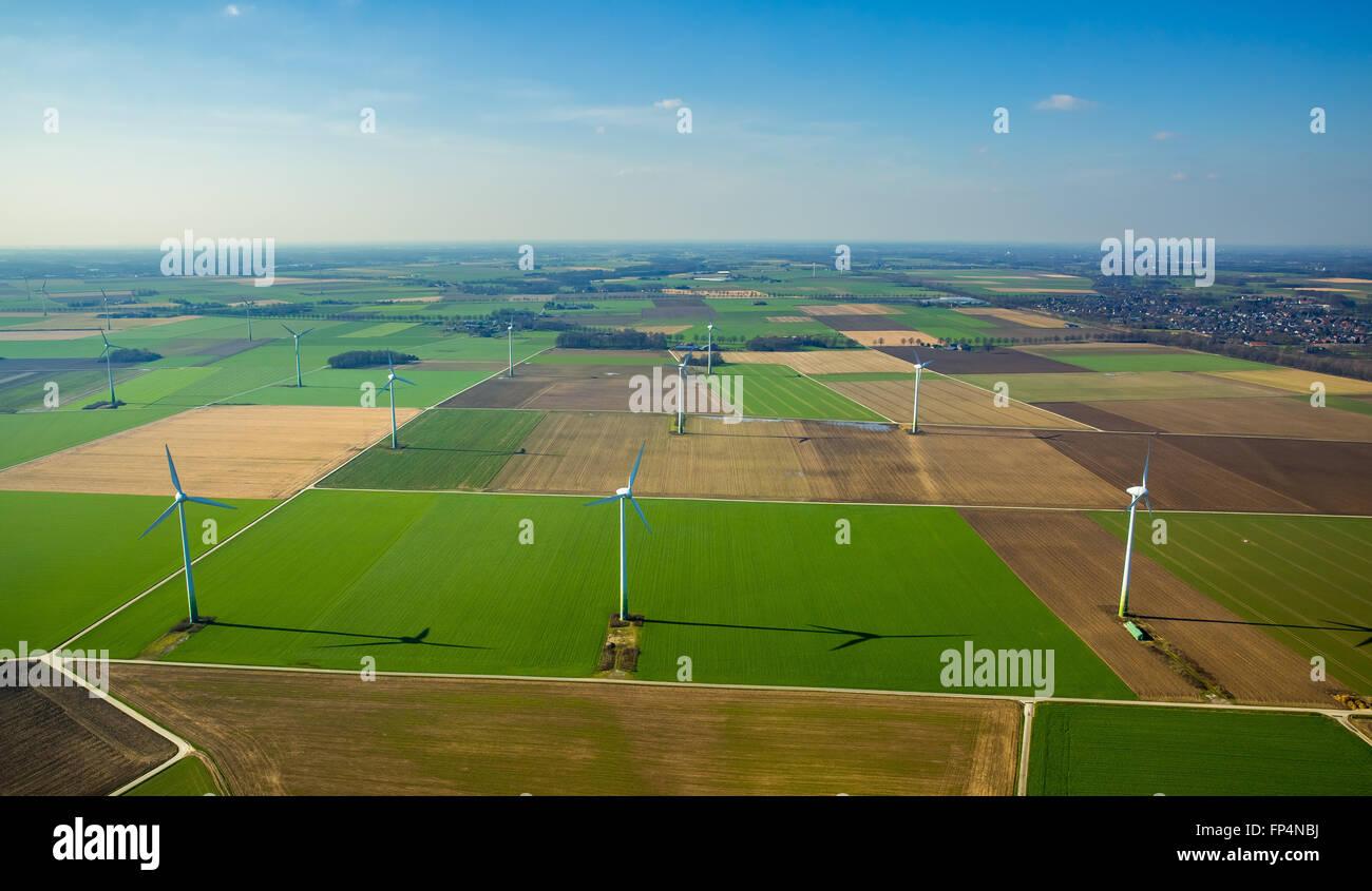 Luftbild, Windkraftanlagen, Wind Kraftwerke Oermter Feldweg, Issum Niederrhein, Nord Rhein Westfalen, Deutschland Stockbild