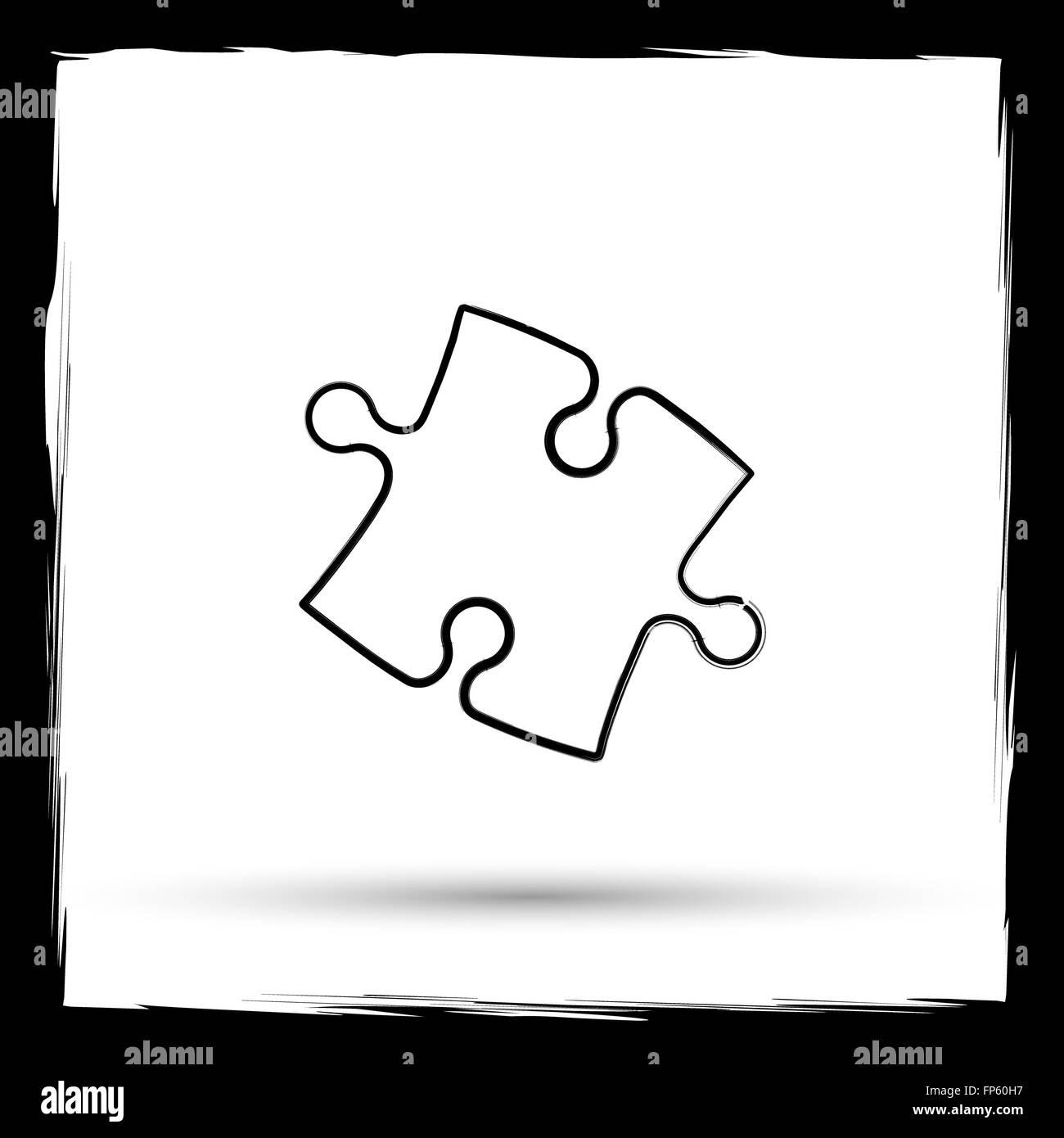 Black White Jigsaw Puzzle Outline Stockfotos & Black White Jigsaw ...