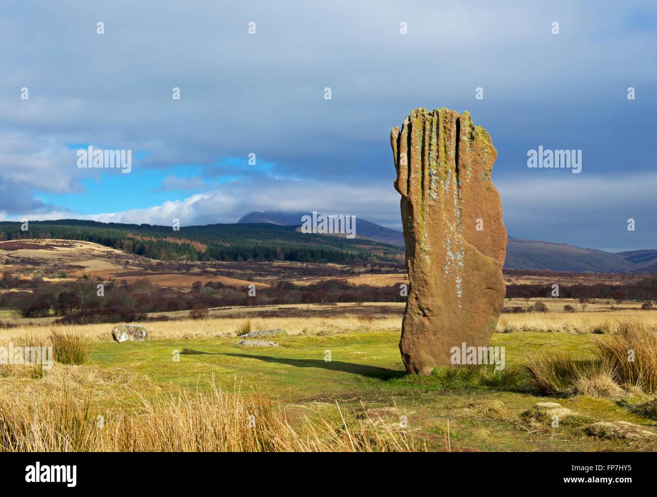 Stehenden Stein auf Machrie Moor, Isle of Arran, North Ayrshire, Schottland, Vereinigtes Königreich Stockfoto