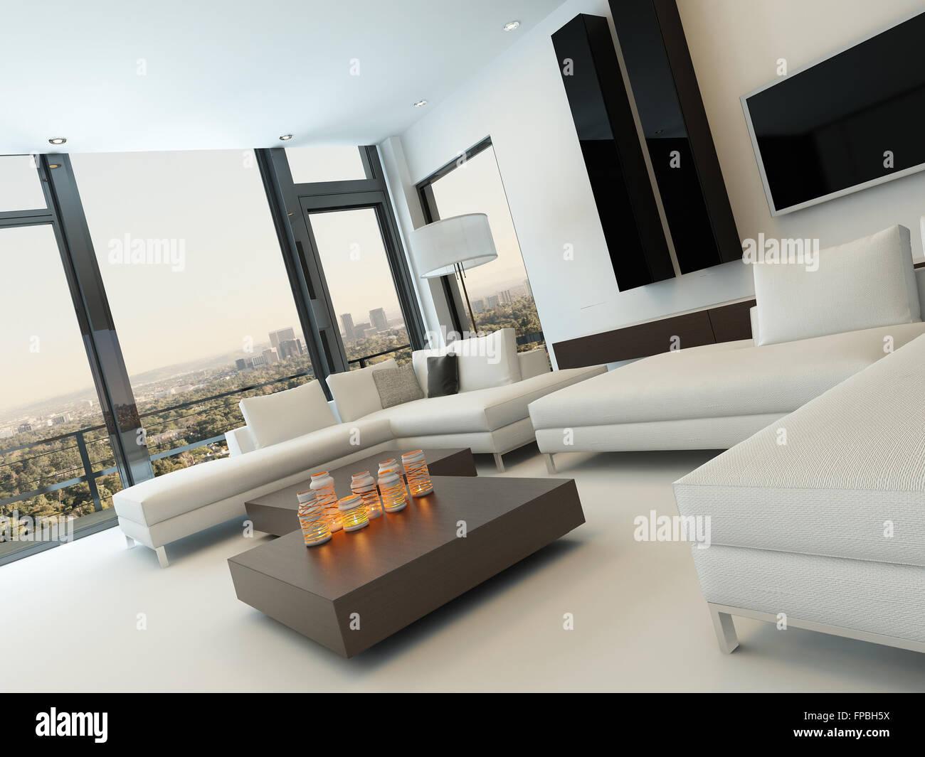 Modernes Design schwarz / weiß Wohnzimmer Interieur Stockfoto, Bild ...
