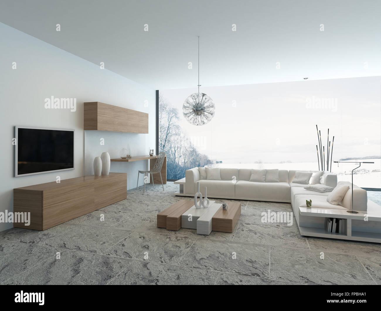 Zimmer moderne Innenarchitektur weißen Luxus Leben Stockfoto, Bild ...