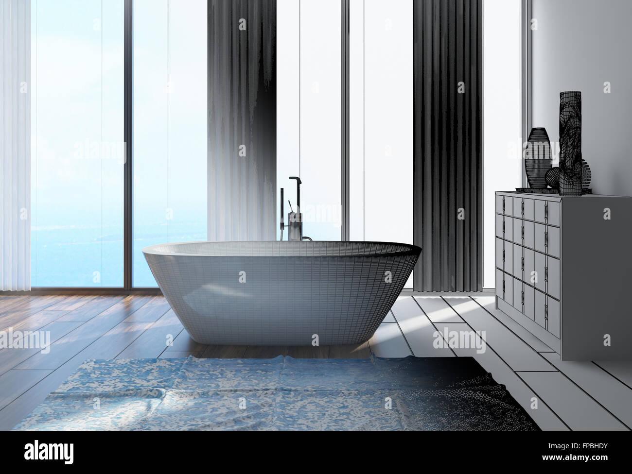 3D Architektur Haus Bad Innenarchitektur mit Badewanne, Schrank und ...