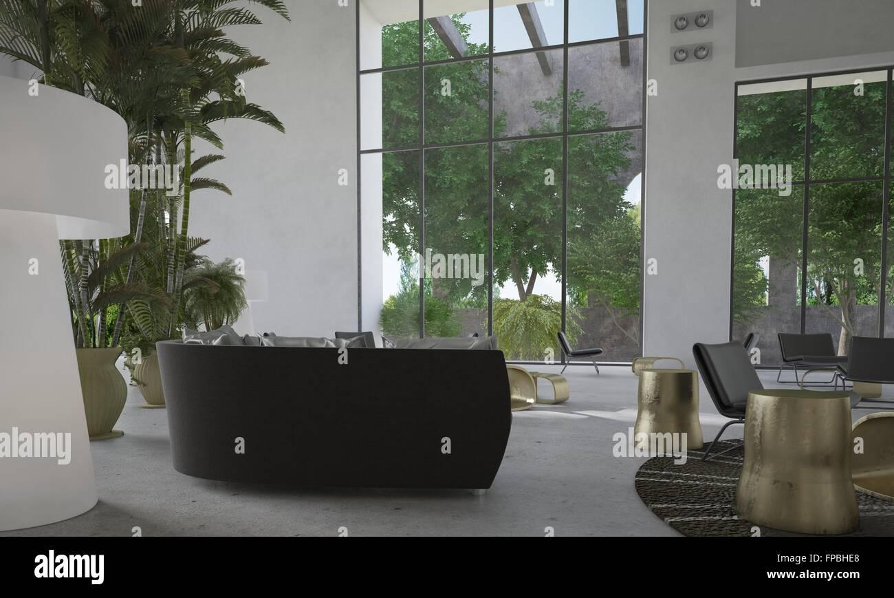 Modernen minimalistischen wohnzimmer interieur mit riesigen