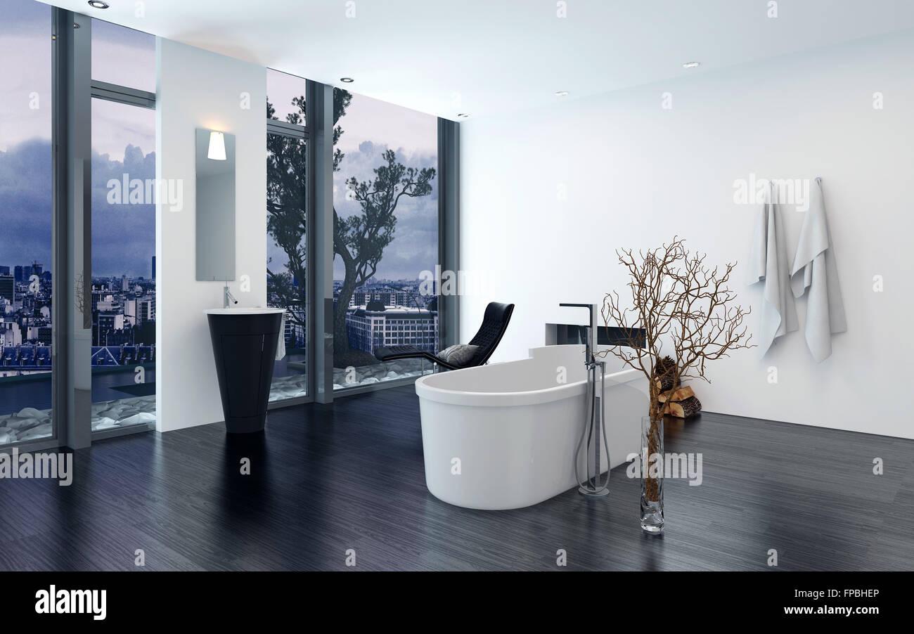 Modernen Zeitgenössischen Luxus Badezimmer Interieur Mit Freistehender  Badewanne, Schwarze Lounge Sessel Und Kamin. 3D Rendering.