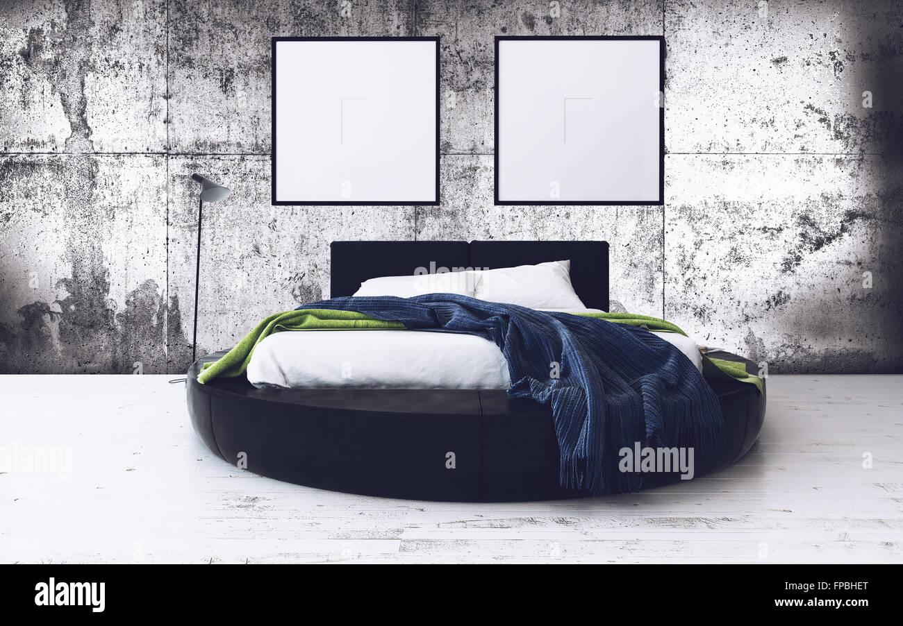 rundes bett und minimalistisch gerahmte kunstwerk im modernen loft schlafzimmer mit. Black Bedroom Furniture Sets. Home Design Ideas
