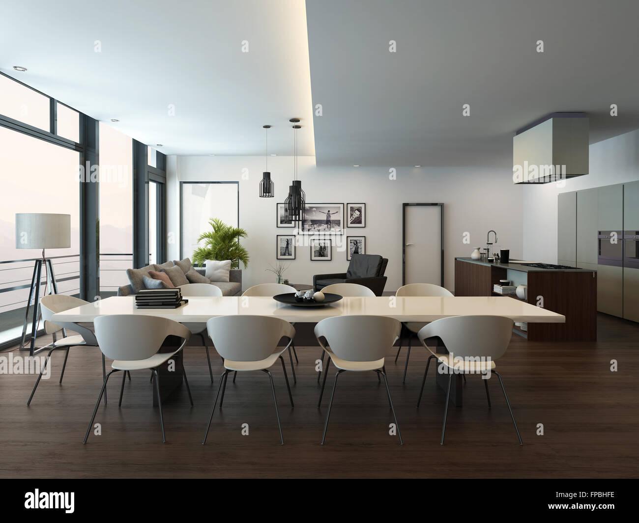 Luxus Modernen Wohnung Wohnzimmer Interieur Mit Parkettboden, Weißen  Esstisch, Wohnbereich Und Küche Mit Einer Kochinsel. 3D Rendering.