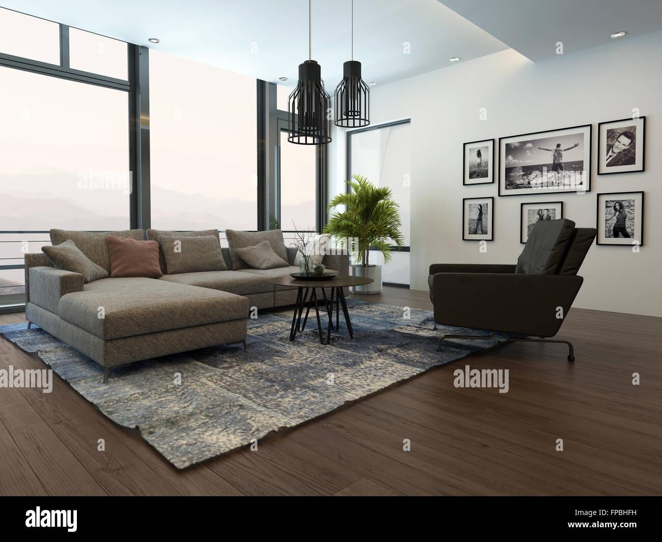 Moderne gemütliche Wohnzimmer Interieur mit grauen Couch ...
