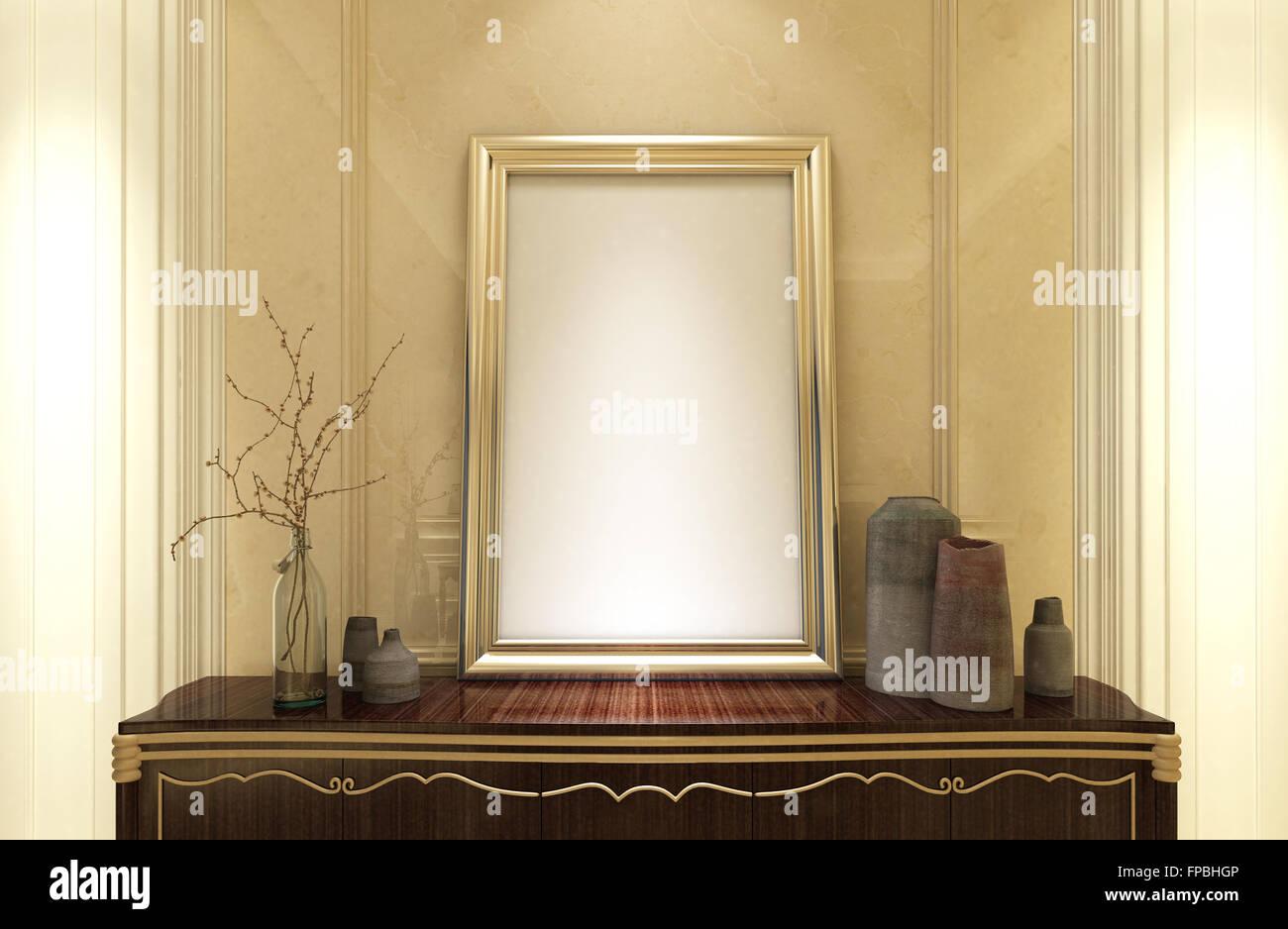 Stilvolle leeren gold Rahmen für Ihr Bild oder Grafik stehen auf ...
