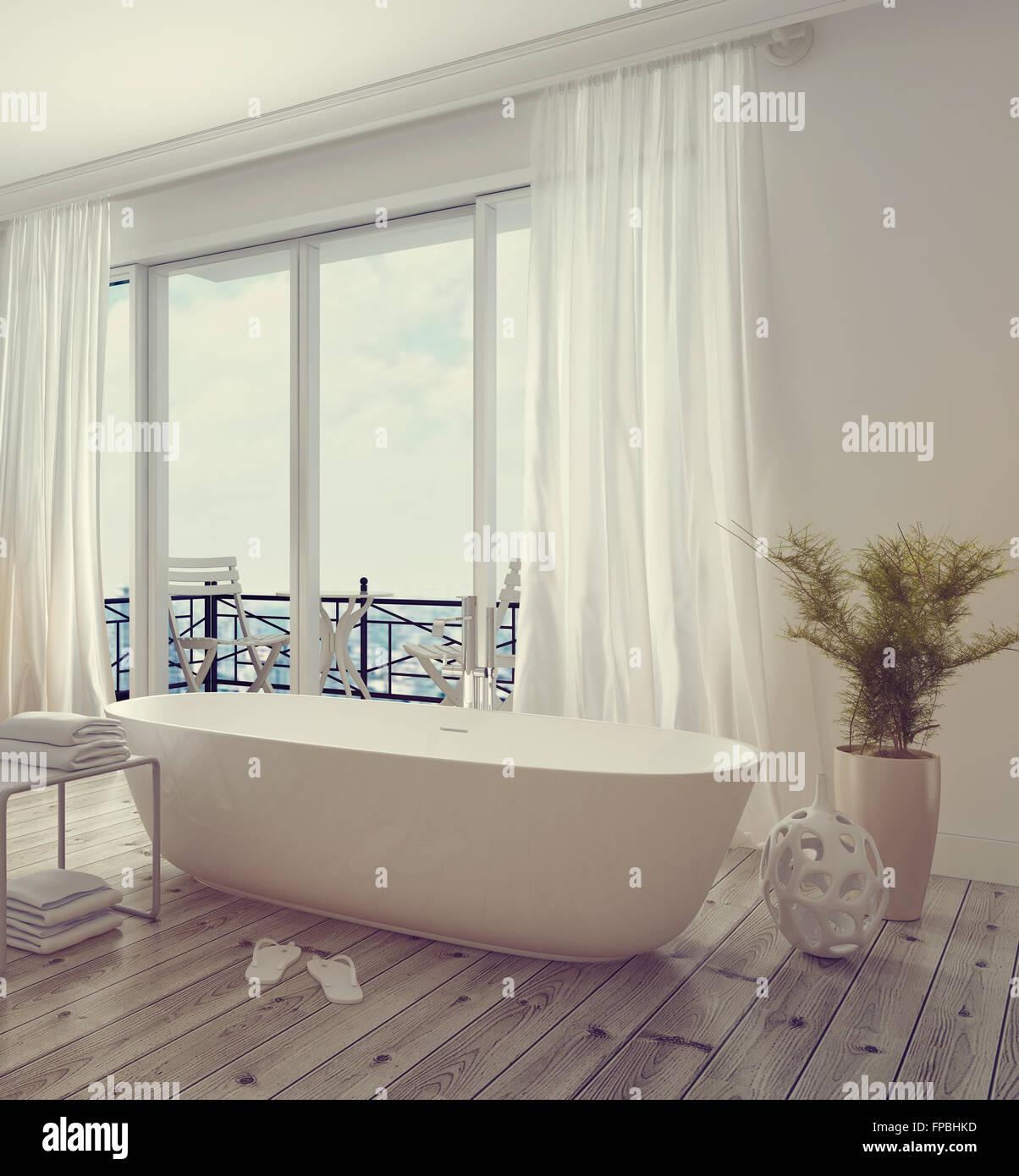 Moderne stilvolle weiße Badezimmer Interieur mit einer ...