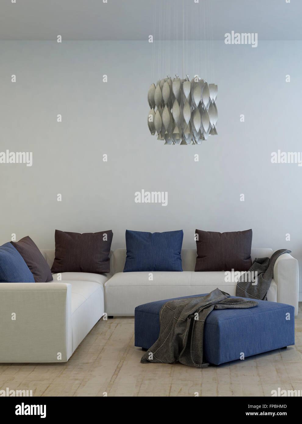 Moderne Wohnzimmer Interieur Mit Einer Ecksuite Einheit Lounge Und  Osmanischen Unter Einem Modernen Kronleuchter. 3D Rendering.