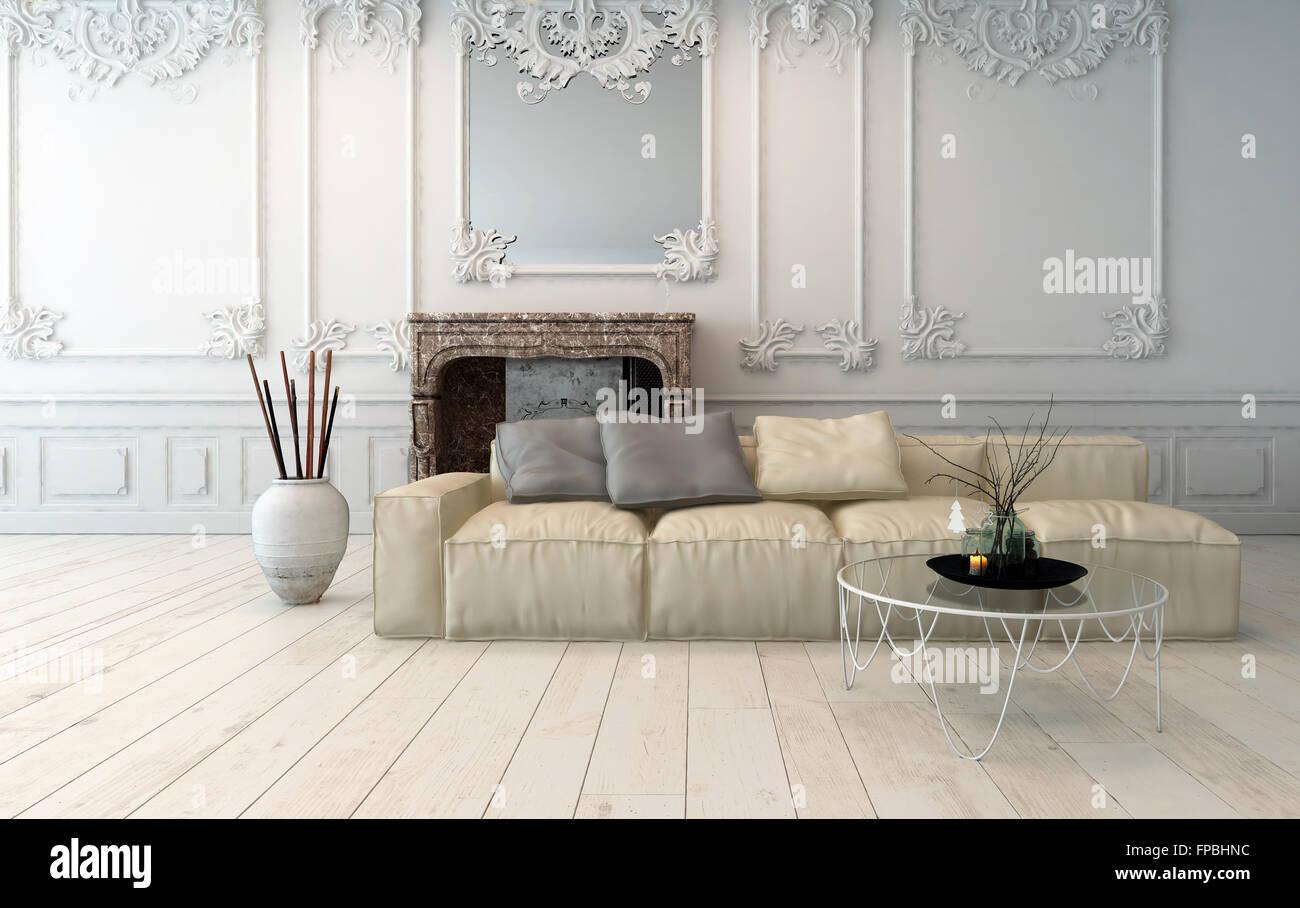 3d Fußboden Wohnzimmer ~ Klassische helle wohnzimmer interieur mit dekorativen hölzernen