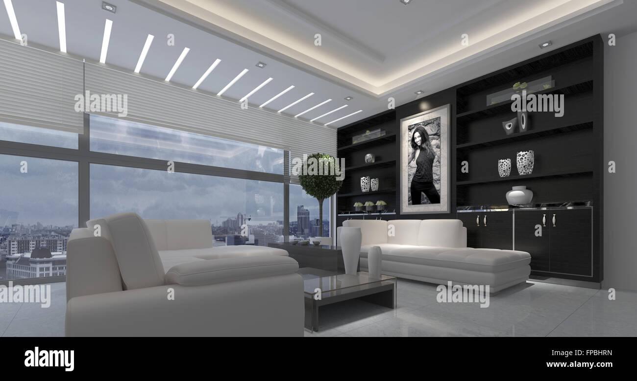 Moderne Luxuriöse Offene Wohnzimmer Interieur In Einem Krassen Schwarz /  Weiß Dekor Mit Downlights Und Ein Großes Fenster Mit Blick Auf Eine Stadt.