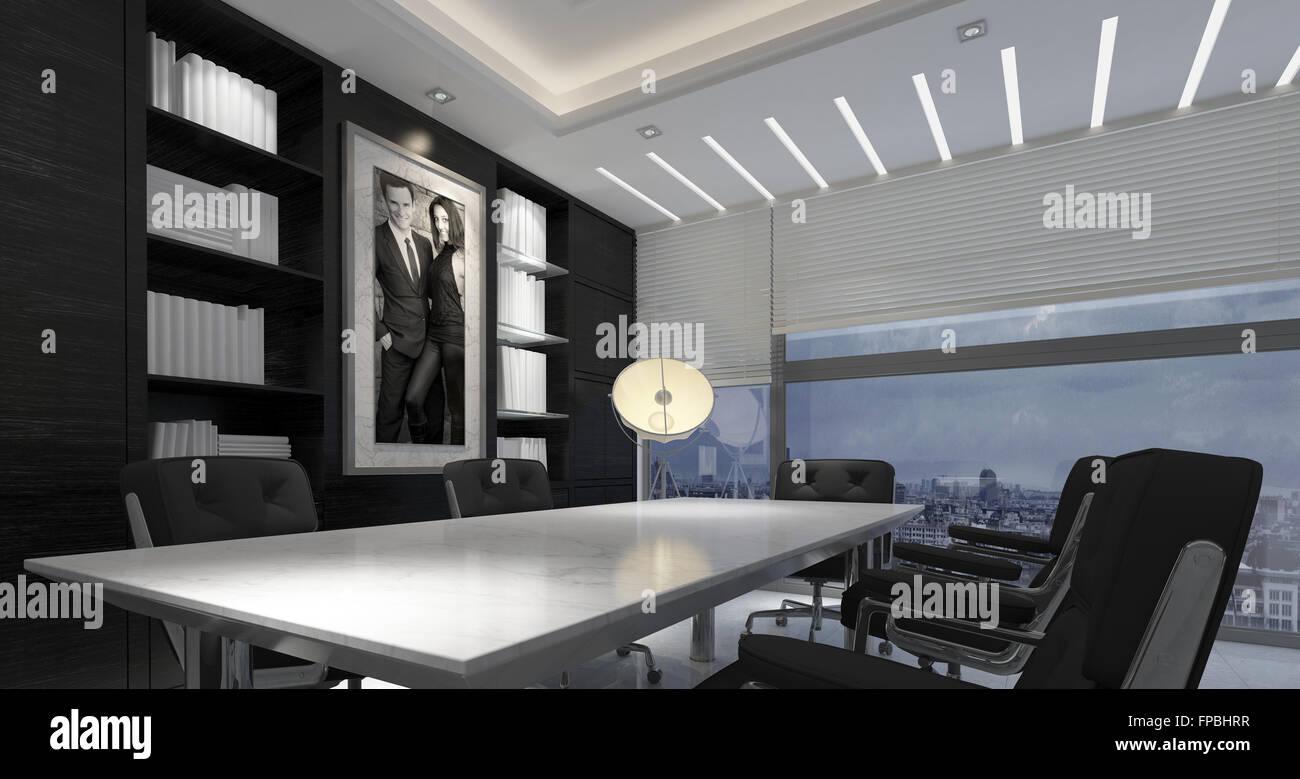 Panorama Innenraum Des Modernen Büro In Hochhaus   Langer Tisch Und Stühle  Im Sitzungssaal Mit Bücherregalen Mit Weißbücher Und Großes Gerahmtes Bild  In ...