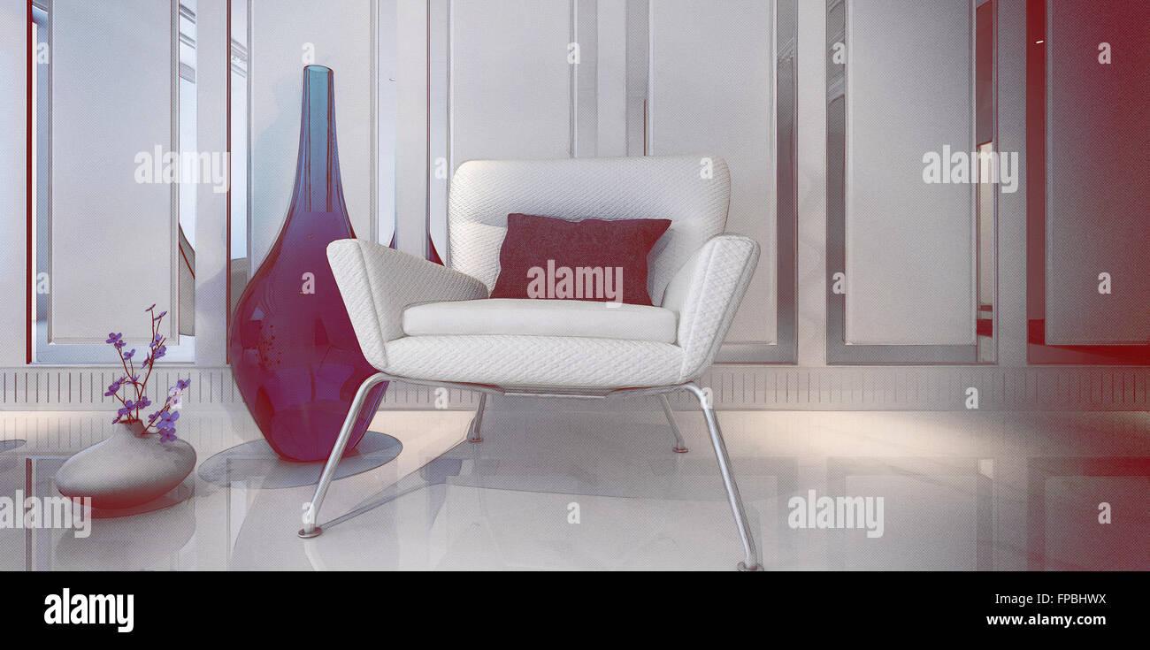 Moderne Weiße Sessel Mit Blauen Kissen Im Geräumigen Zimmer Mit