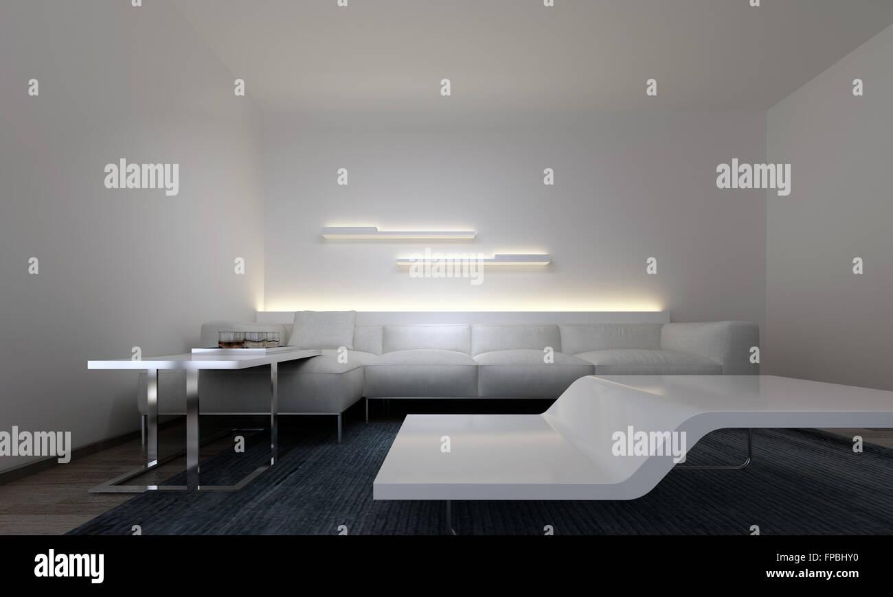 Moderne Tische Im Modernen Wohnzimmer Mit Weissen Sofa Von