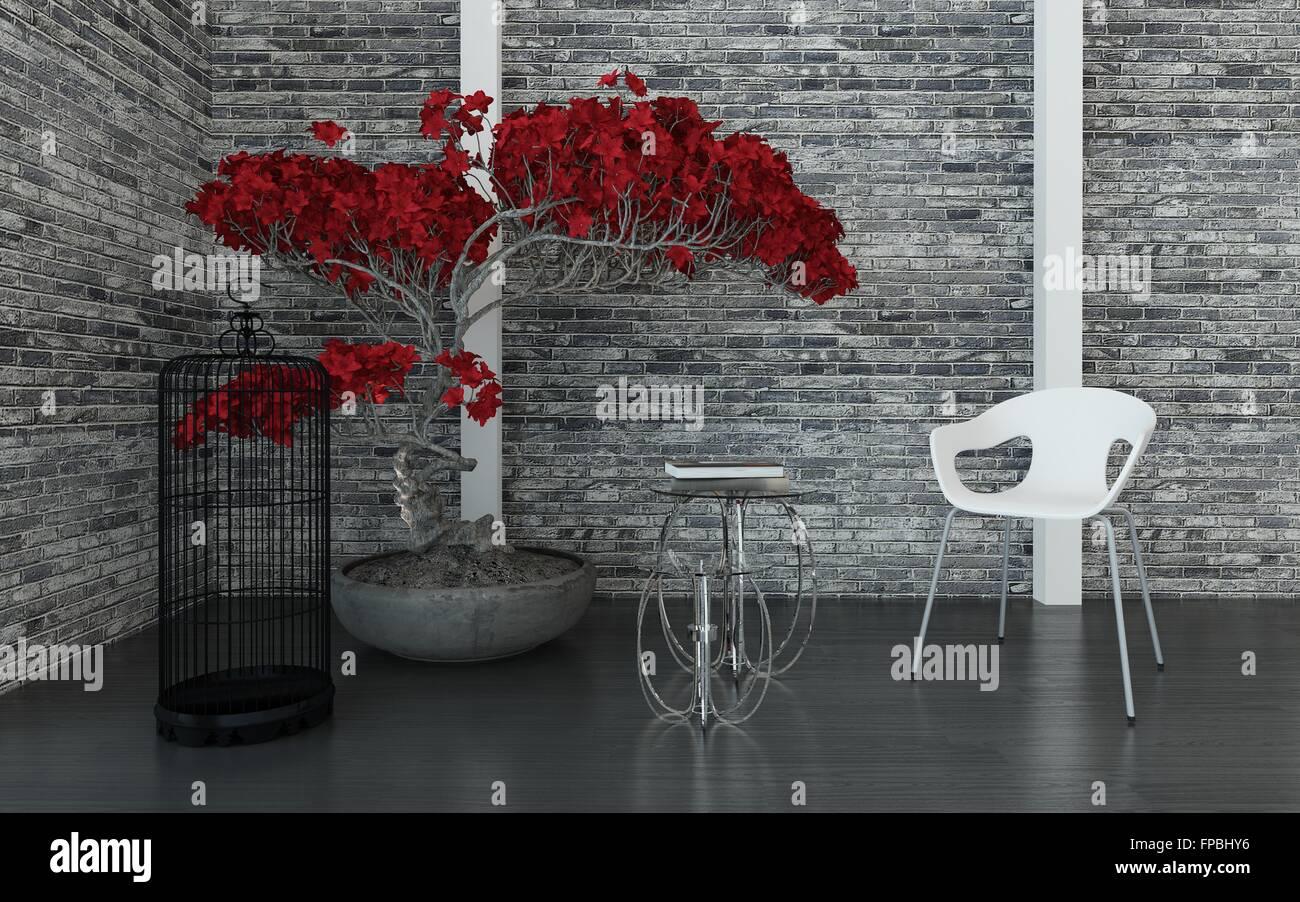 Moderne Wohnzimmer Oder Wartezimmer Interieur Mit Einer Textur Graue Mauer,  Topfpflanzen Rot Pflanze, Vogelkäfig, Tabellen Und Modulare Stuhl, In Einer  Ecke ...