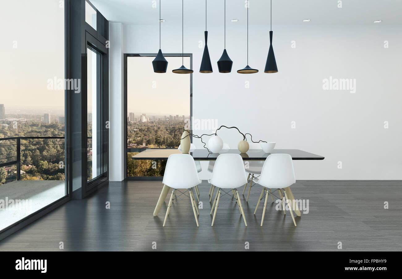 Moderne Essecke Im Wohnzimmer Mit Vier Stilvolle Overhead Leuchtet über Dem  Tisch Und Stühle Mit Riesige Fenster Mit Blick Auf Die Stadt. 3D Rendering.