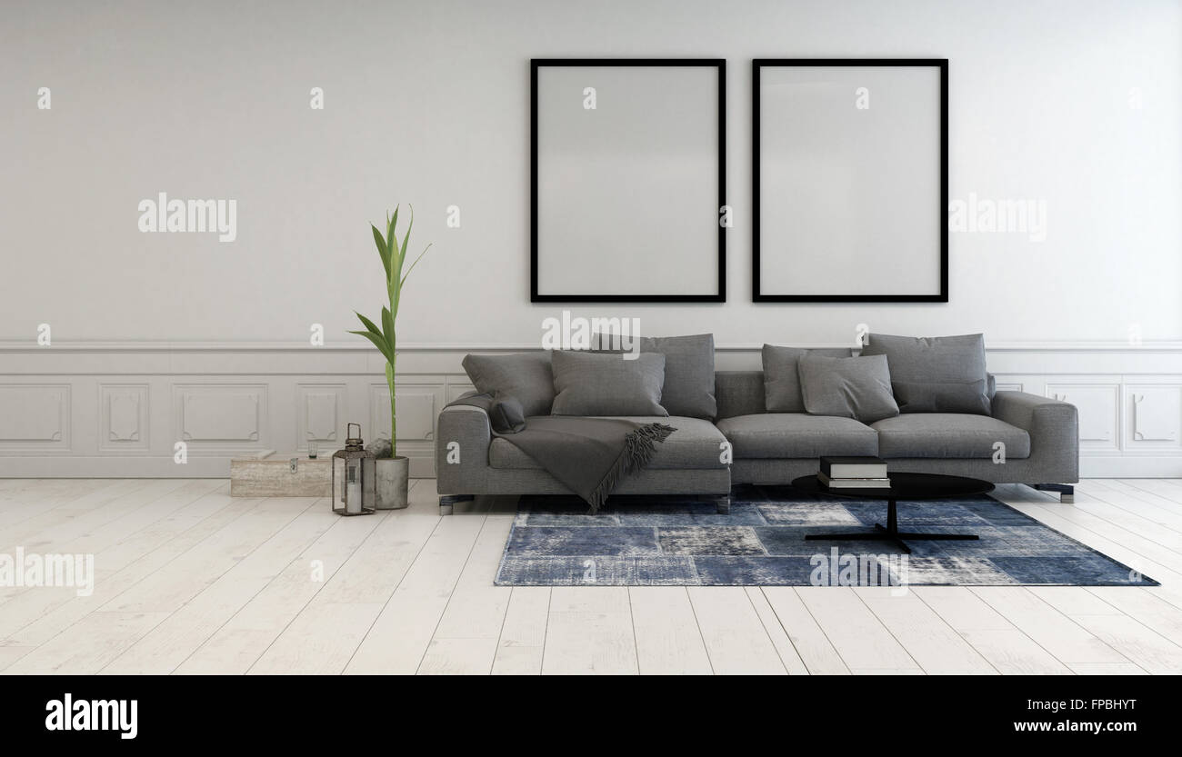Minimalistische Grau Und Weiß Wohnzimmer Interieur Mit Einer Bequemen  Gepolsterten Liege Unten Zwei Große Leere Bilderrahmen Hängen Auf Einer  Weißen Wand, ...