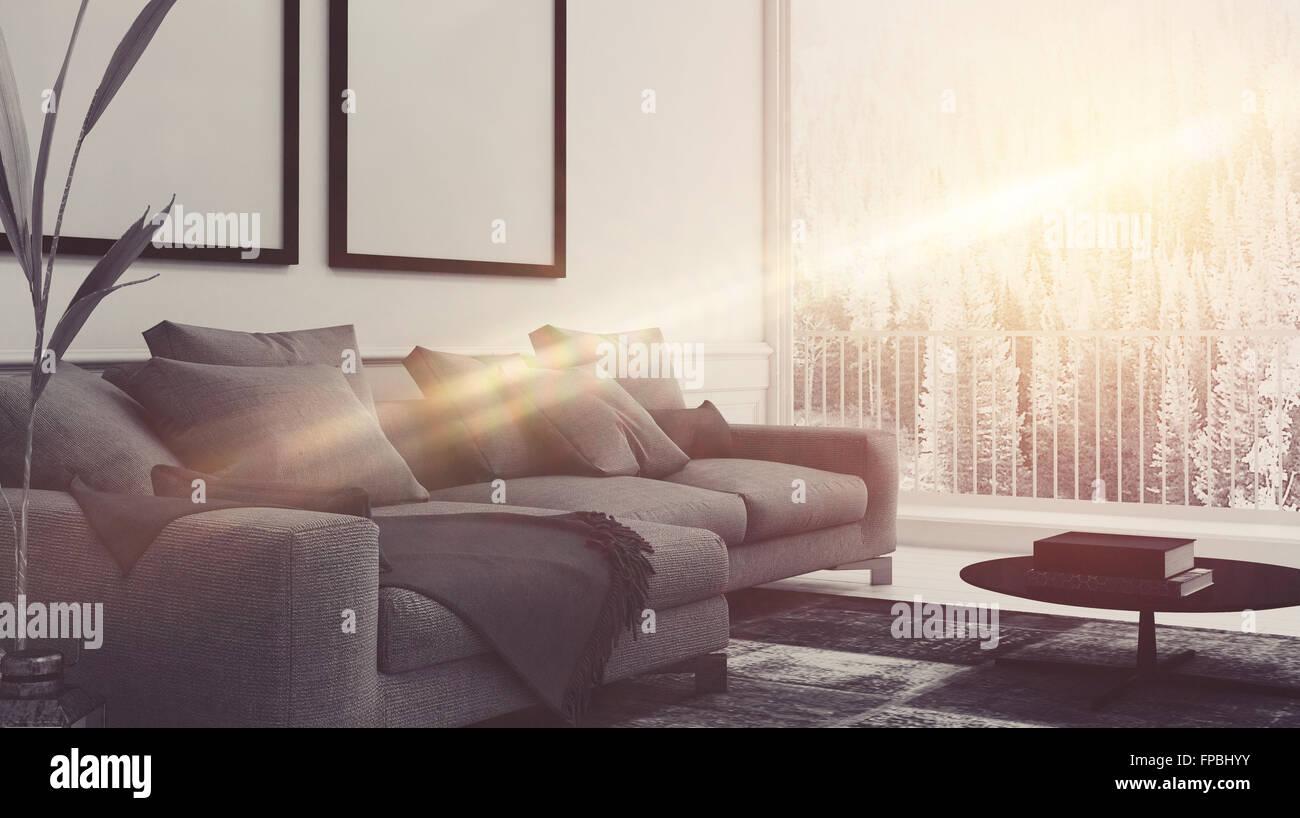Strahl von Sonnenlicht Leuchten ein komfortables Wohnzimmer ...