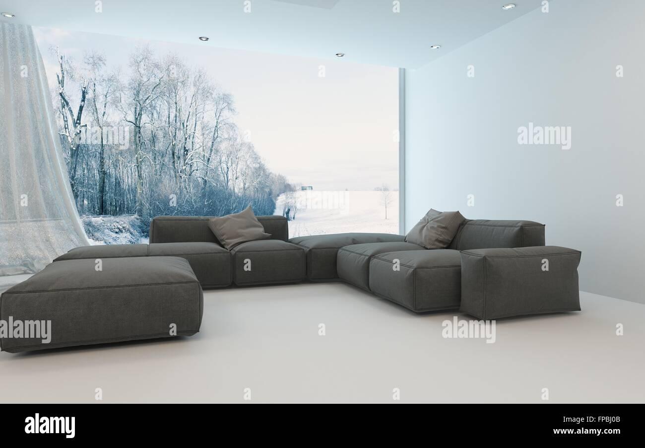 angenehm k hles helles wohnzimmer interieur mit gepolsterten sofas in die ecke vor ein fenster. Black Bedroom Furniture Sets. Home Design Ideas