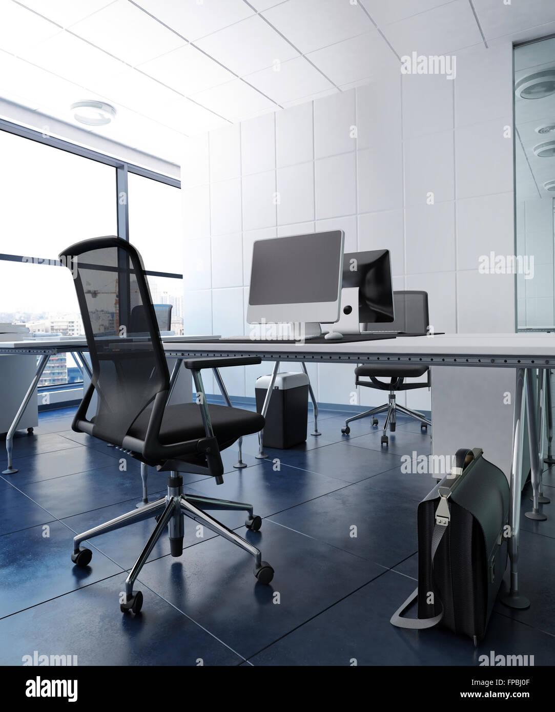 Niedrigen Winkel Blick auf moderne offene Konzept Büro im Hochhaus ...