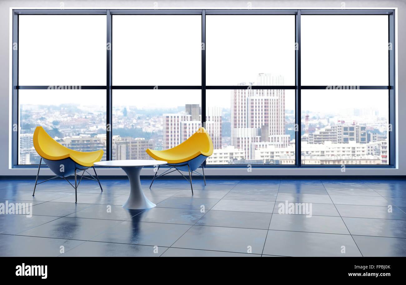 Offene Konzept Büro oder Wohnung mit zwei zeitgenössische gelbe ...