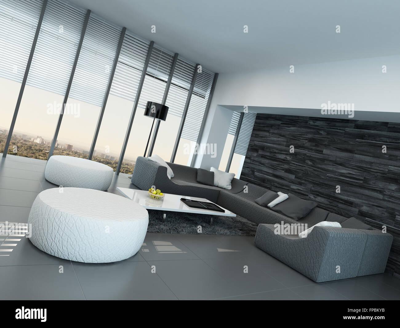 Schräge Perspektive ein modernes grau und weiß Wohnzimmer Interieur ...