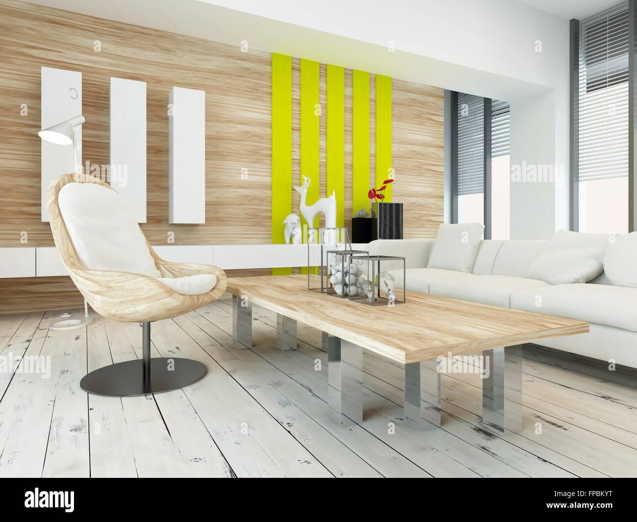 Rustikale Holz Furnierbild Wohnzimmer Interieur Mit Natürlichen Holz  Couchtisch Und Wandpaneele Und Weiß Lackierten Holzdielen, Gelben Akzenten  Und Große ...