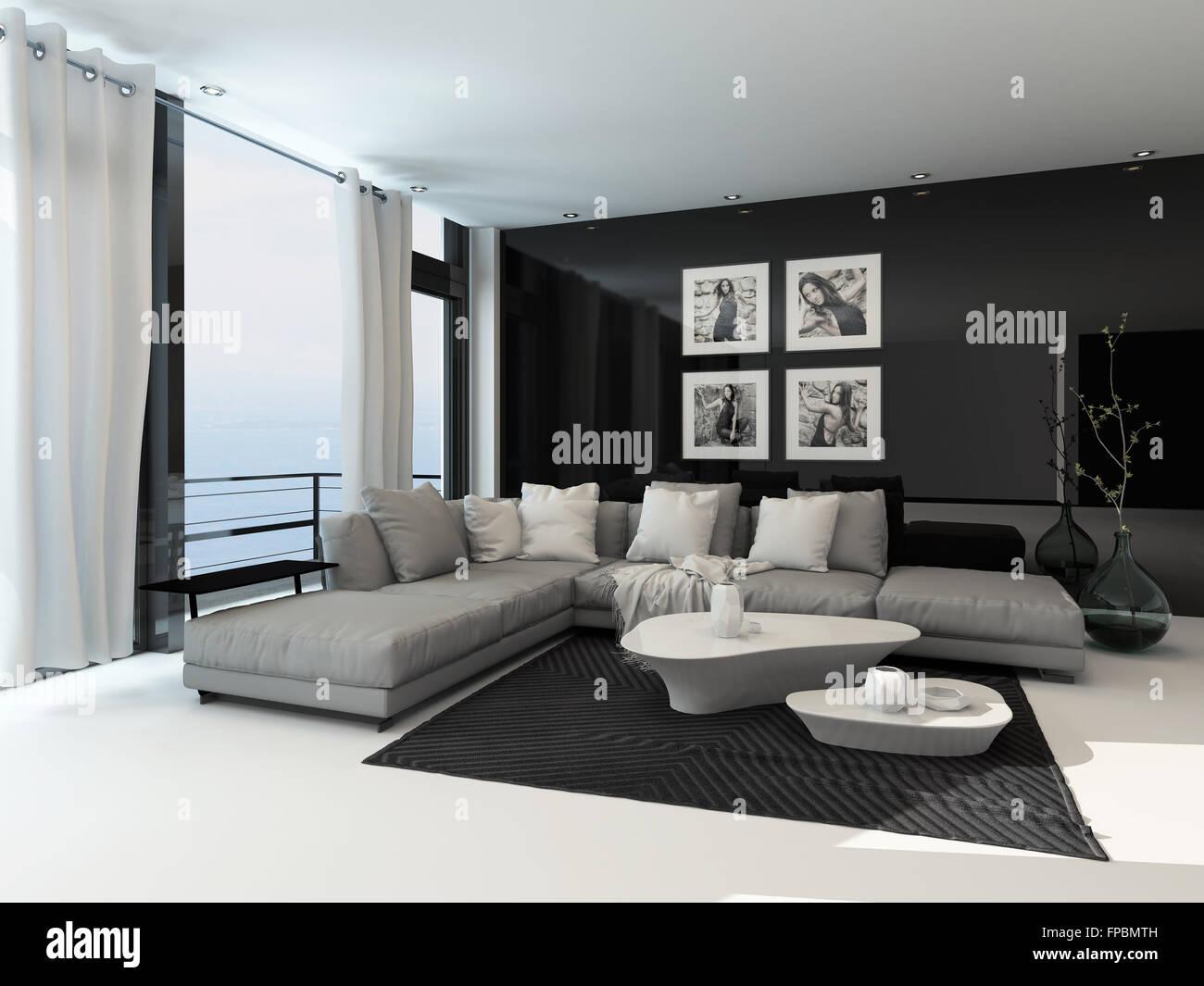 Lounge-Interieur in einer Küstenstadt Wohnung mit raumhohen Fenstern ...
