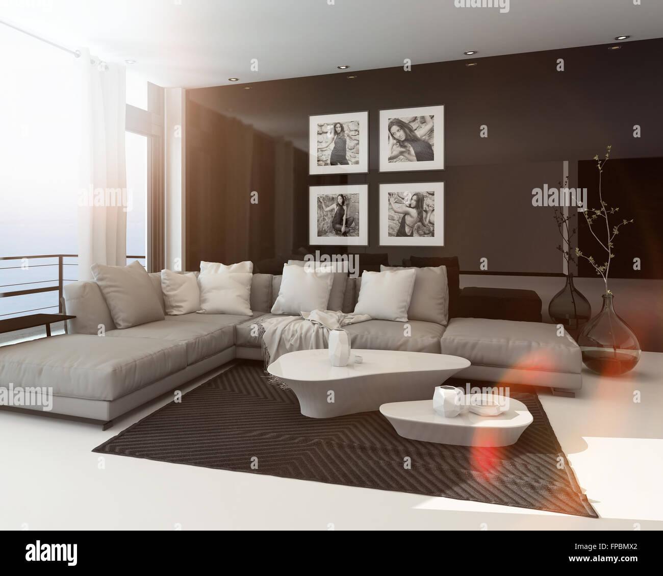 Warme Sonnige Moderne Wohnzimmer Interieur Mit Sonne Streulicht Durch Eine  Große, Deckenhohe Fenster, Kunst An Der Dunklen Akzent Wand Und Einer  Gemütlichen ...