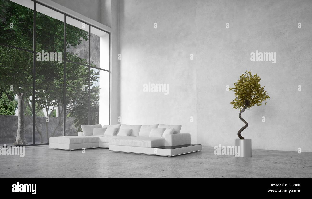 Grosses Modernes Minimalistisches Wohnzimmer Interieur Mit