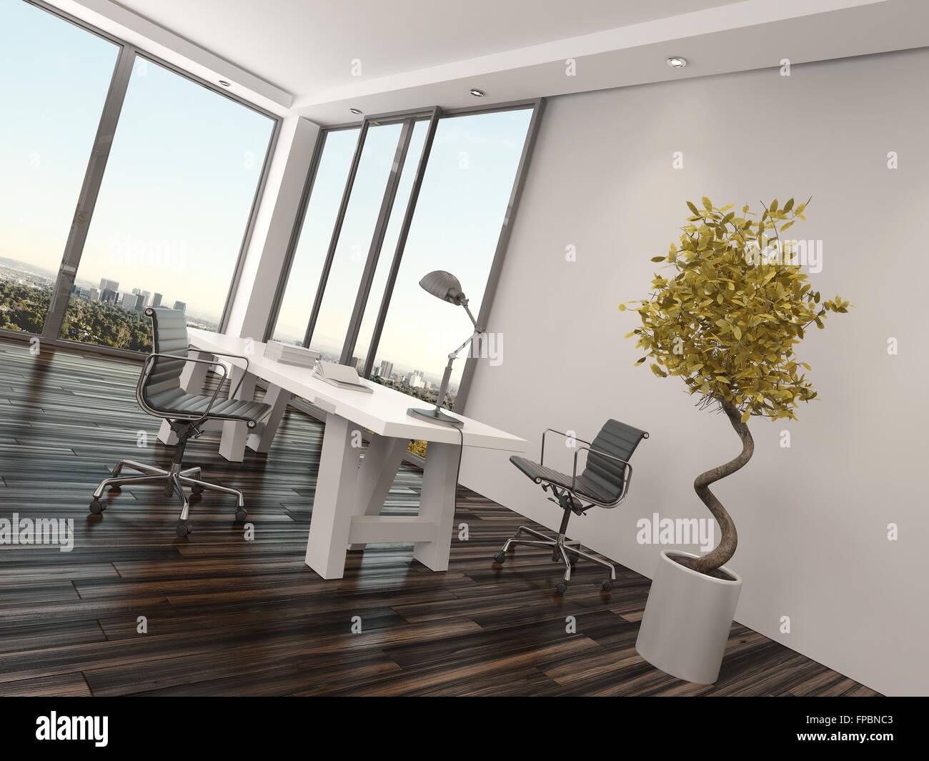 Moderne home-Office Interior Design mit zwei Bürostühle auf beiden ...