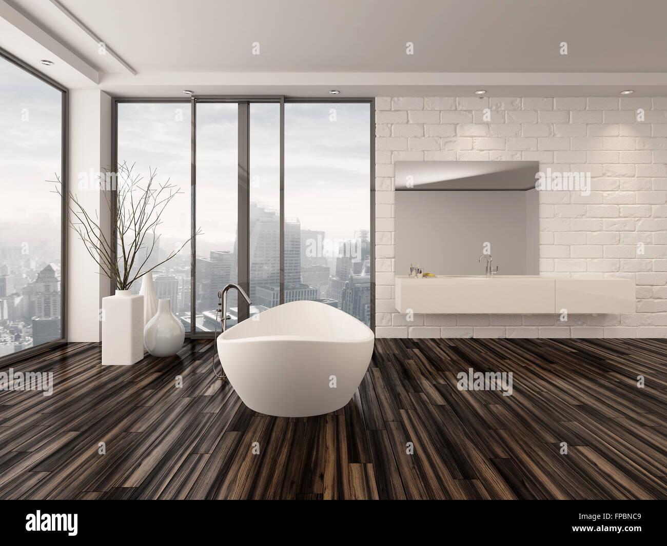 Moderne weiße minimalistischen badezimmer interieur mit einer