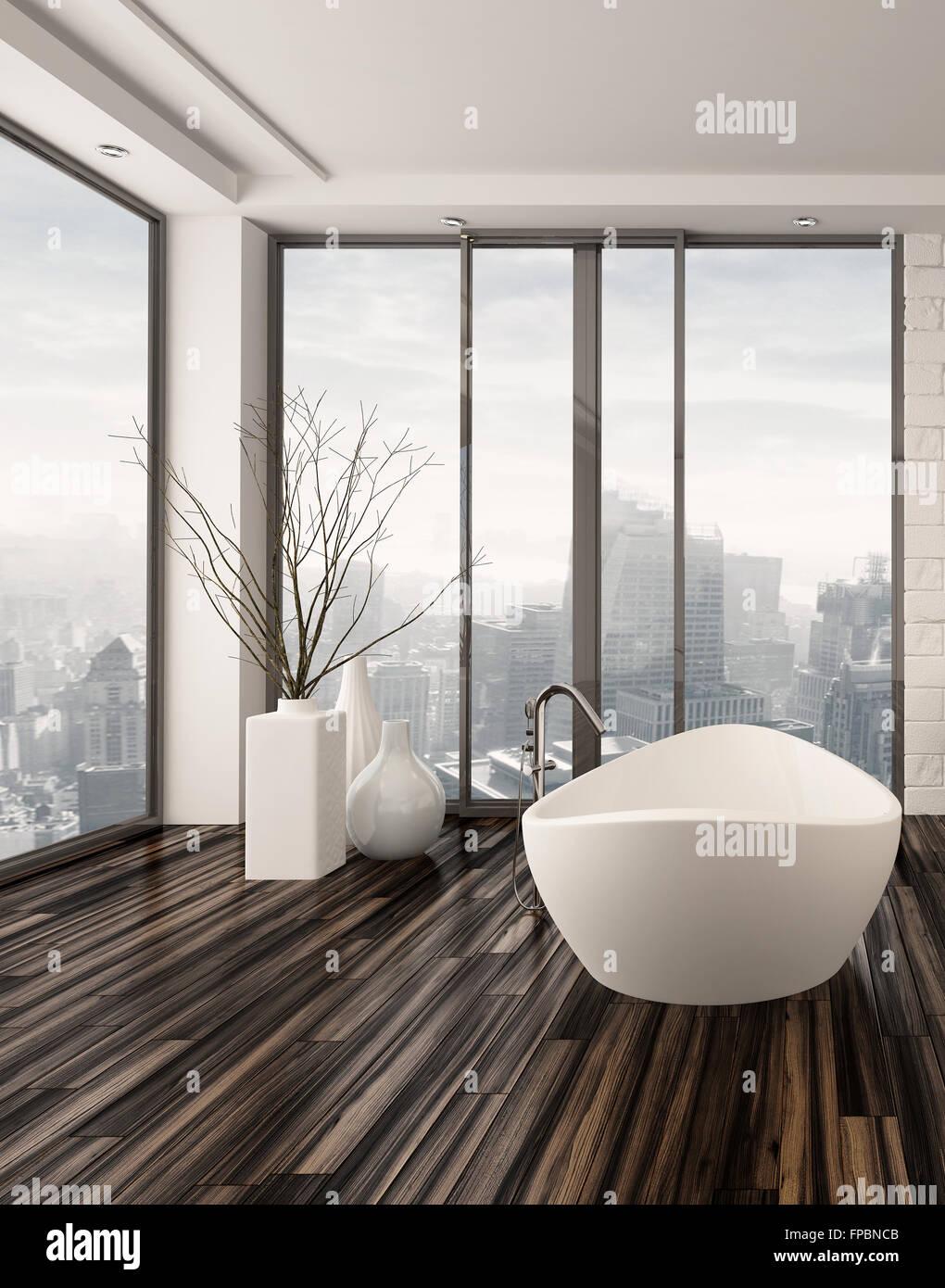 Modernes Badezimmer Interieur Mit Weissen Freistehende Badewanne Auf