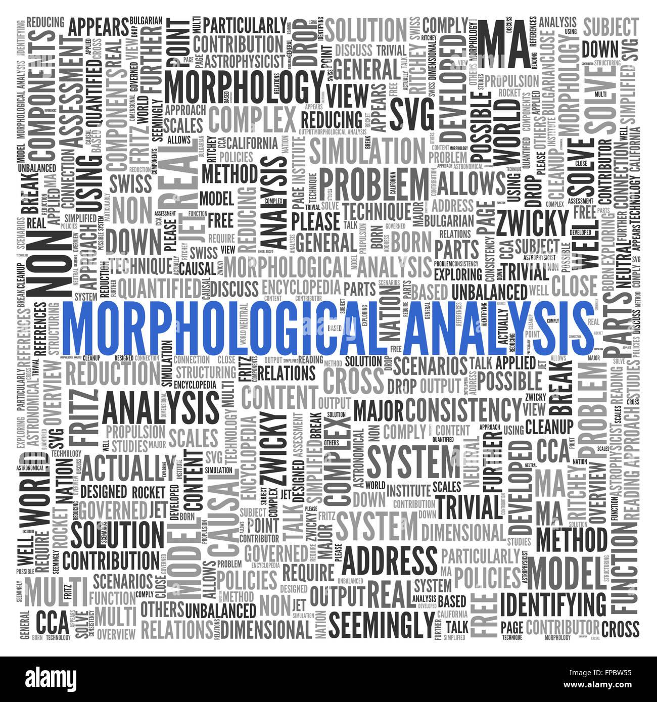 Nahaufnahme blau morphologische Analyse Text in der Mitte Wort Tag Cloud auf weißem Hintergrund. Stockbild