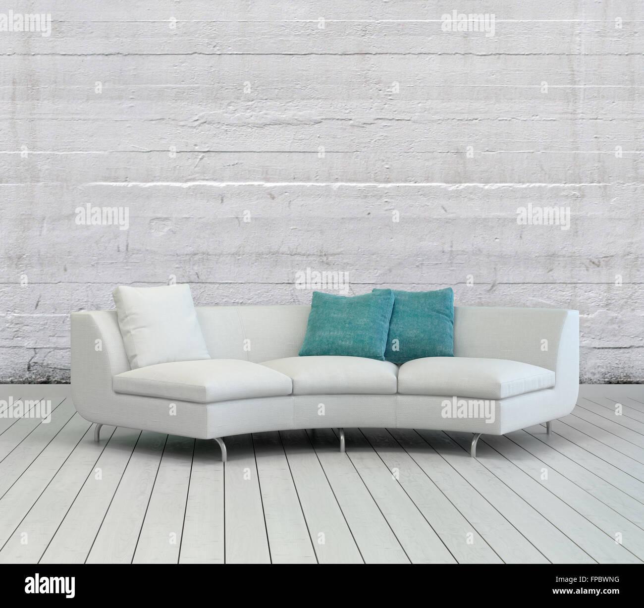 Eleganten Weißen Sofa Mit Weißen Und Grünen Kissen Auf Einer Leeren  Wohnzimmer Mit Strukturierte Weiße Wand Hintergrund Und Holzböden