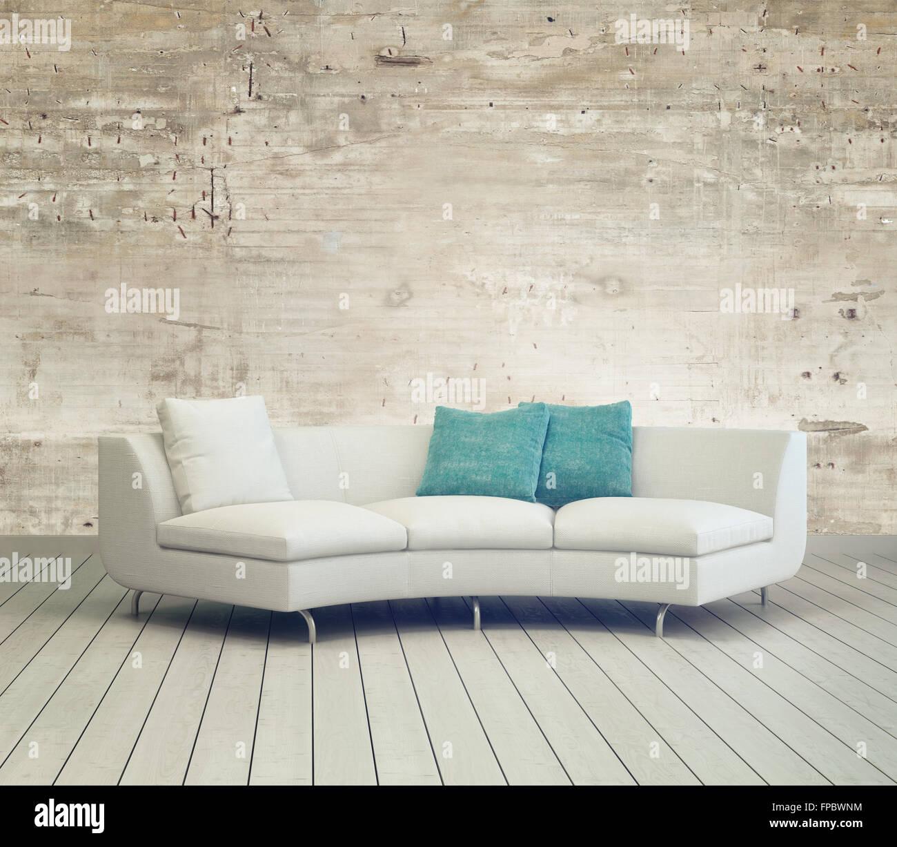 Weiße Couch Möbel Im Gemütlichen Wohnzimmer Mit Unfertigen Wandgestaltung  Hintergrund Und Holzboden.