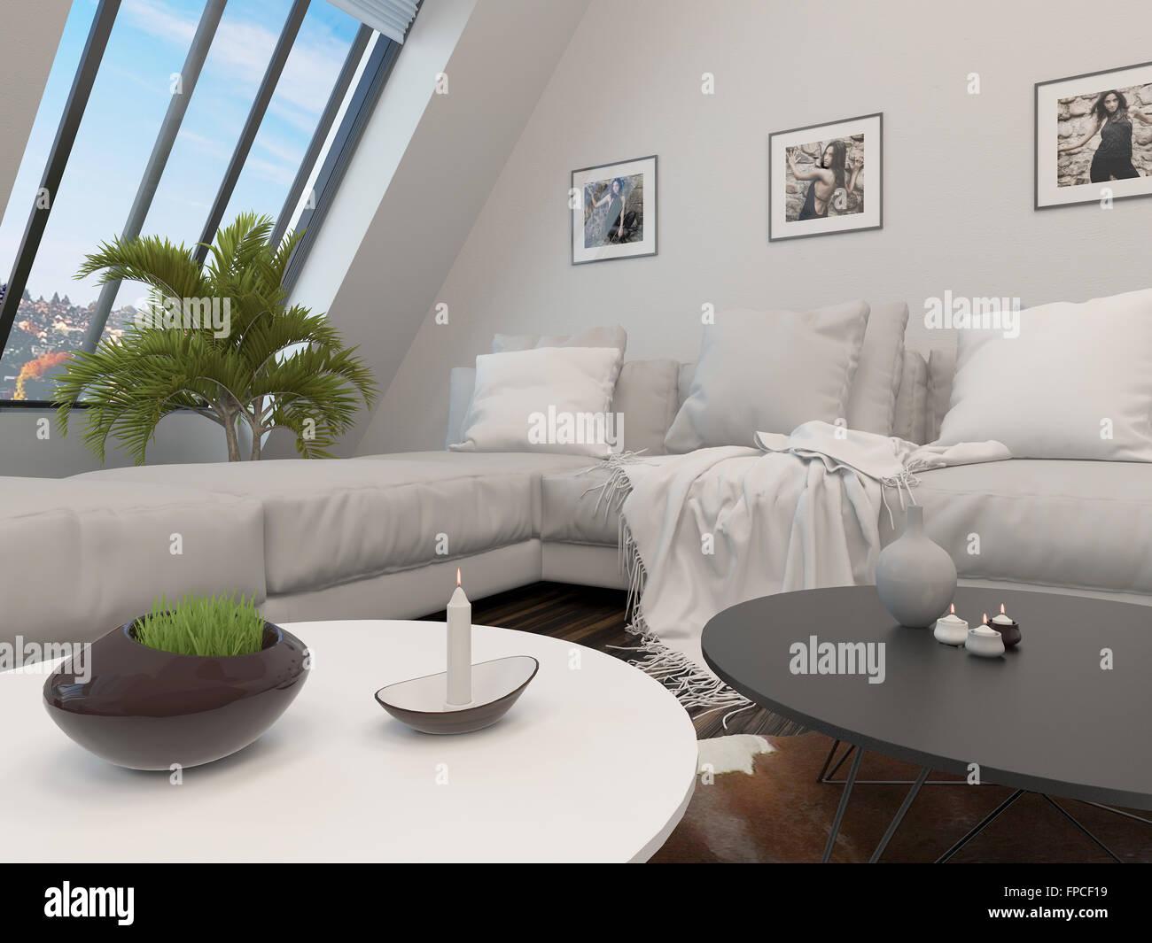 Moderne Wohnzimmer Interieur mit einer Ecksuite Leder, niedrigen ...