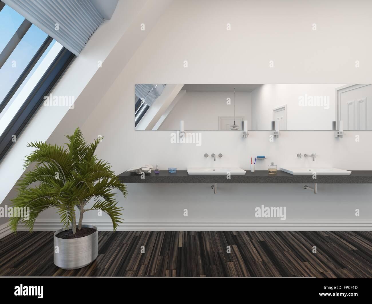 Modernes Bad Mit Doppel Waschtisch Einheit Unter Einem Langen