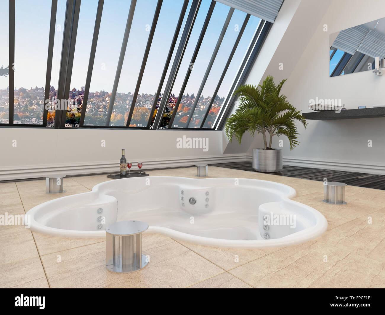 Versunkene Dreiblatt Geformt, Whirlpool Oder Spa Bad In Ein Modernes  Badezimmer, Die Durch Große Schräge Fenster Mit Einem Urbanen Blick  übersehen