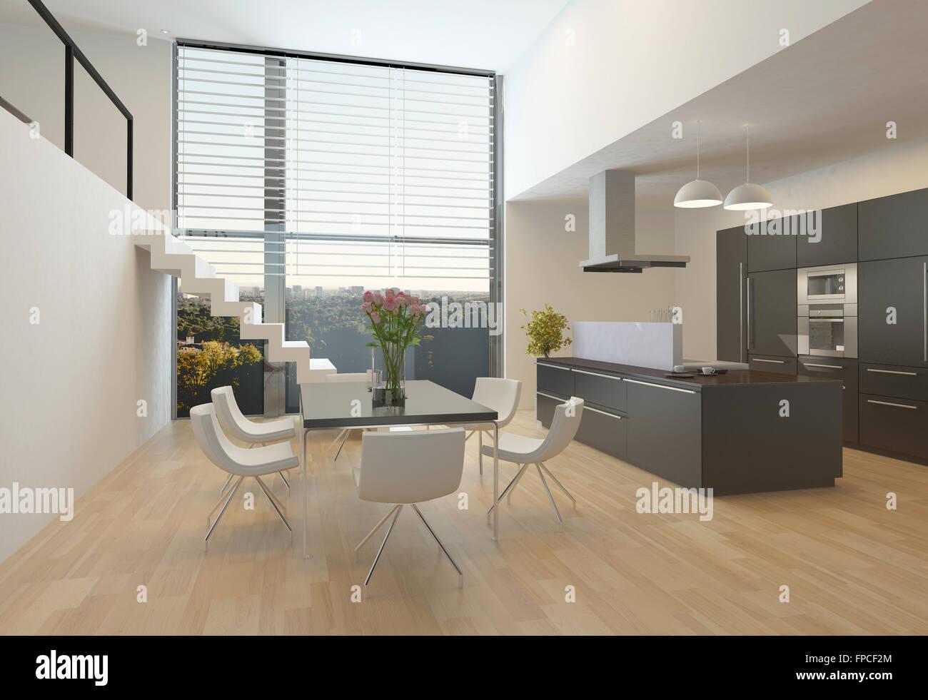 Moderne Küche Interieur mit einer zentralen Kochfeld, Hängeschränke ...