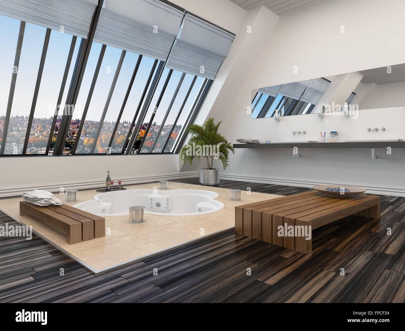Modernes Badezimmer Interieur Mit Einer Versunkenen Whirlpool Badewanne In  Parkett Und Schräge Ansicht Panoramafenster, Eine Wand, Wonach In
