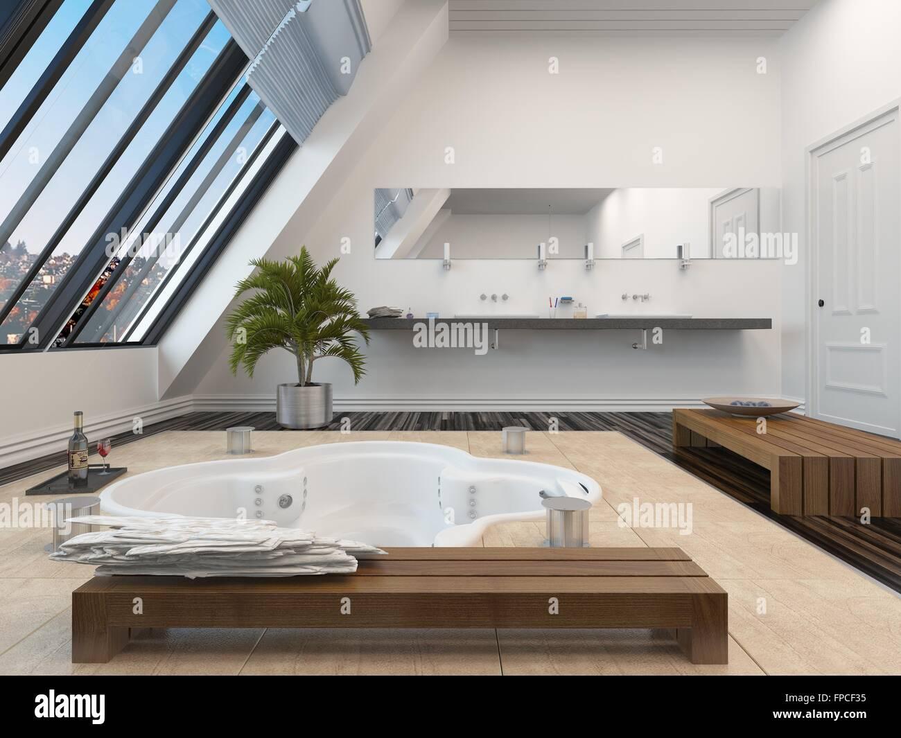 Modernes Badezimmer Interieur mit einer versunkenen ...