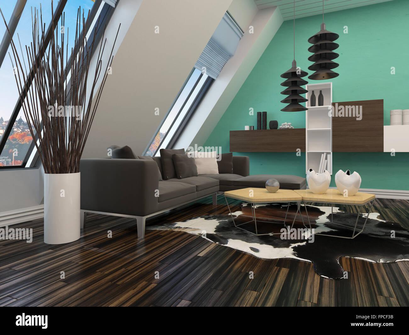 Moderne Wohnzimmer Inneneinrichtung mit einer schrägen Wand mit ...