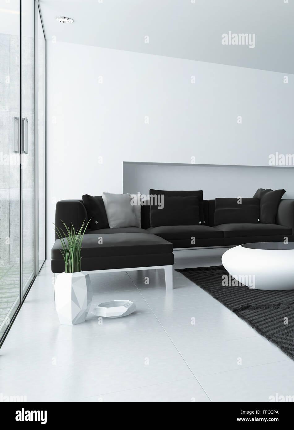 Modernes Wohnzimmer mit grauen und weißen Dekor und ein Eckzimmer ...