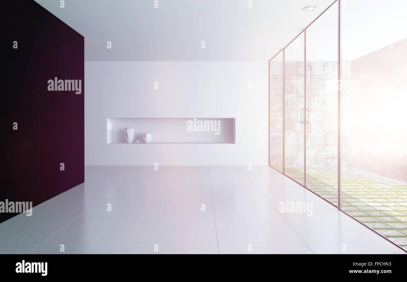 Moderne leeren weißen Raum Innenraum mit Alkoven Stockfoto, Bild ...