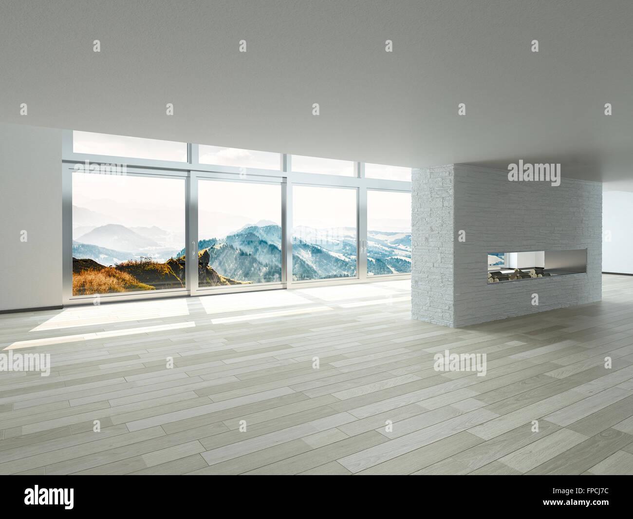 Leeren Wohnzimmer offene Innenraum mit weißen Wänden, Decke und ...